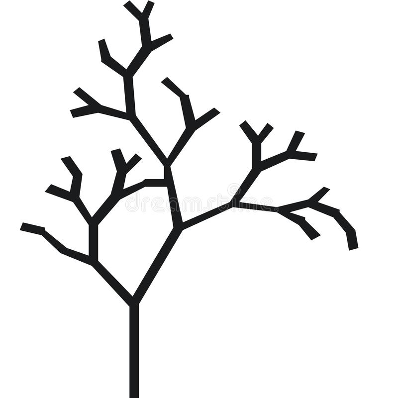 Free The Silhouette Of A Tree With A Trunk And Branches Without Leaves. Black And White Vector Icon Stock Images - 100554194