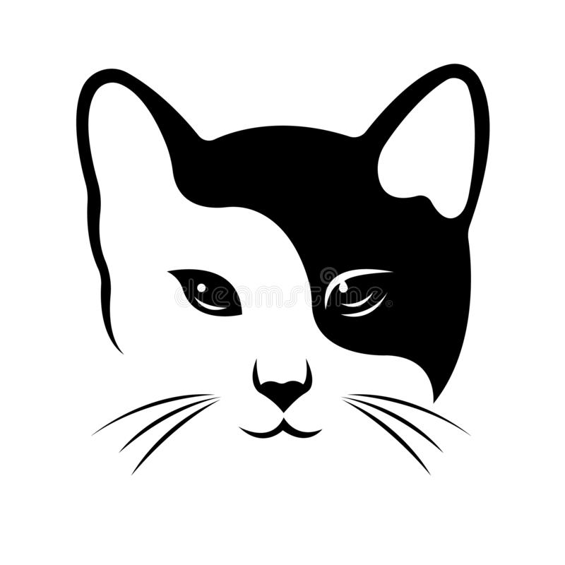 Free The Silhouette Of The Cat`s Face, Painted In Black, One Side Is The Second White, Drawn By Lines Of Various Widths. Royalty Free Stock Photos - 160802598