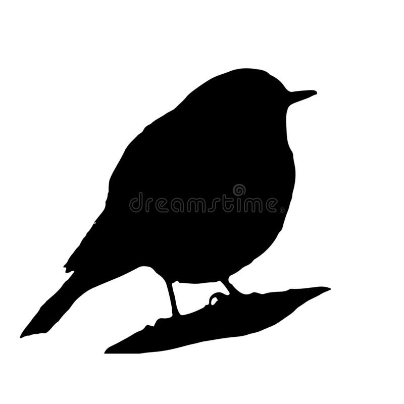 Free The Silhouette Vector Illustration Of Black Redstart Bird In White Background , Phoenicurus Ochruros Stock Photography - 182708142
