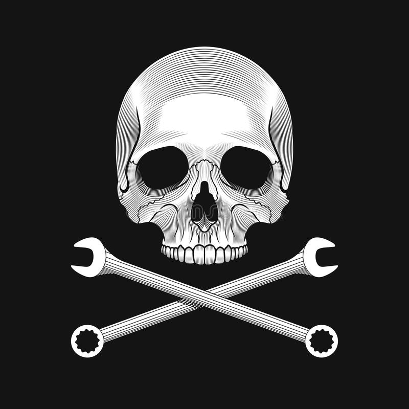 Free The Skull And Crossed Wrenches On The Black Background. Royalty Free Stock Photo - 63768115