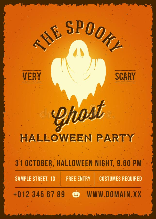 Free The Spooky Glowing Ghost Abstract Vector Vintage Poster, Card Or Flyer. Halloween Phantom Silhouette On Orange Stock Photography - 125579122