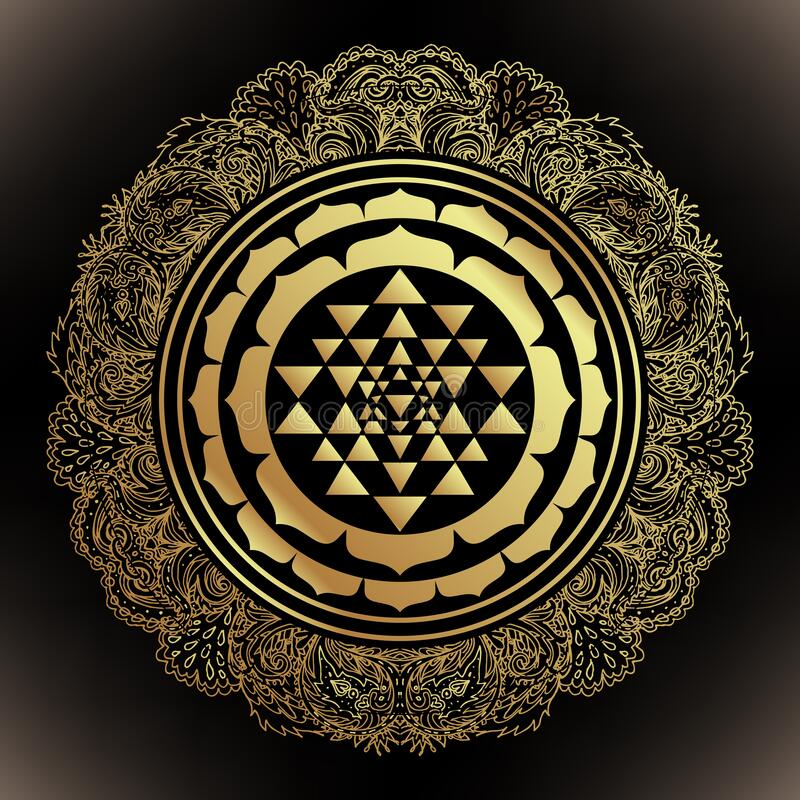 Free The Sri Yantra Or Sri Chakra, Form Of Mystical Diagram, Shri Vidya School Of Hindu Tantra Symbol. Sacred Geometry Vector Royalty Free Stock Photos - 200278688