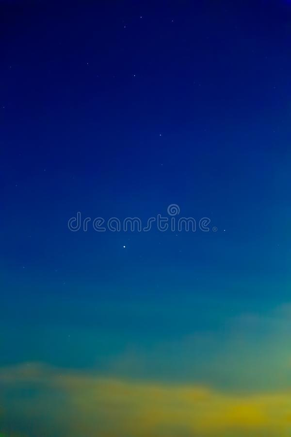 Free The Starry Sky At Dawn. Yellow Rays Of The Sun Stock Images - 121225324