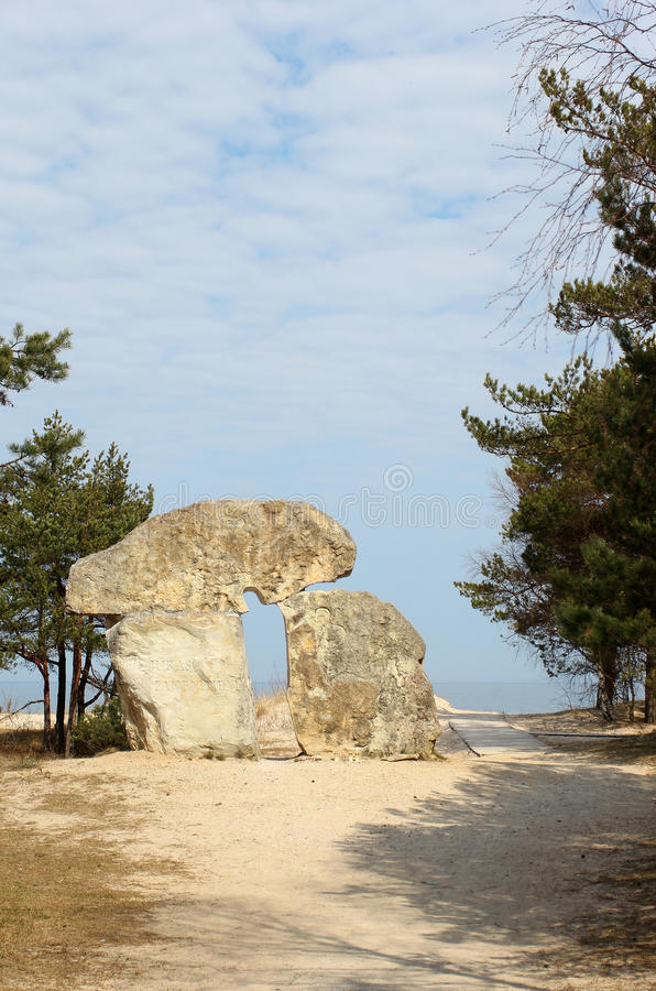 Free The Stone Monument Standing At The Seashore In Latvia Stock Photos - 47743893
