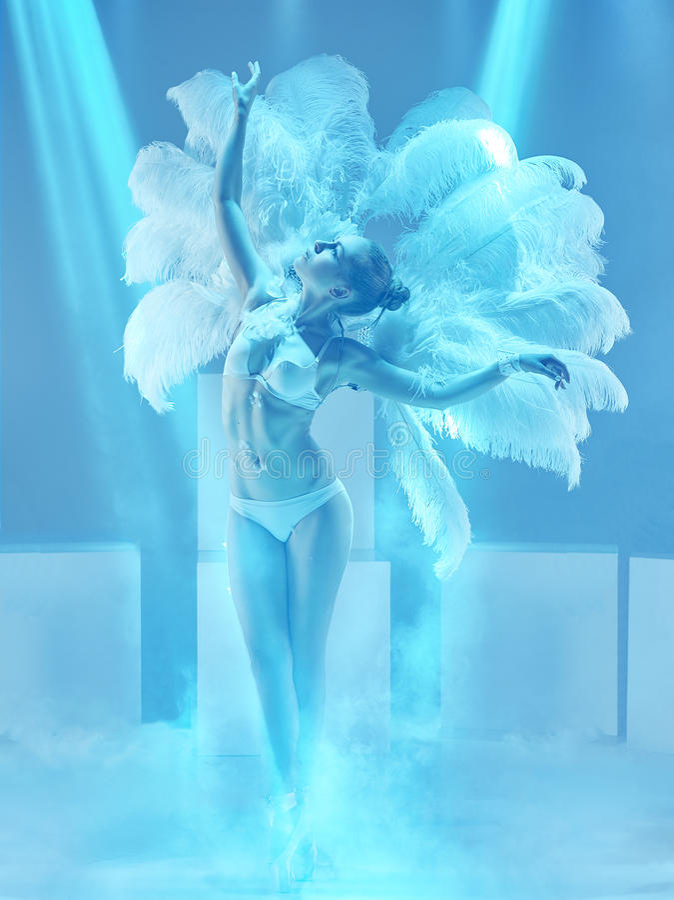 Free The Studio Shot Of Female Modern Dancer On Blue Background Royalty Free Stock Image - 96242026