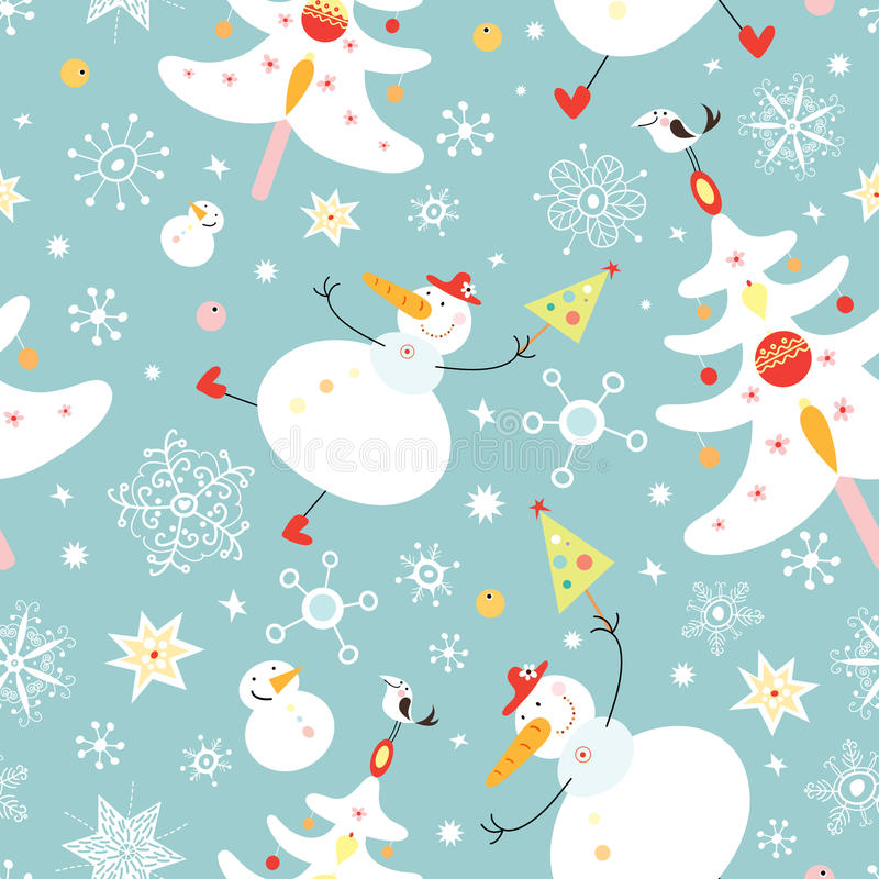 Free The Texture Of The Snowmen And Christmas Trees Stock Image - 16090951