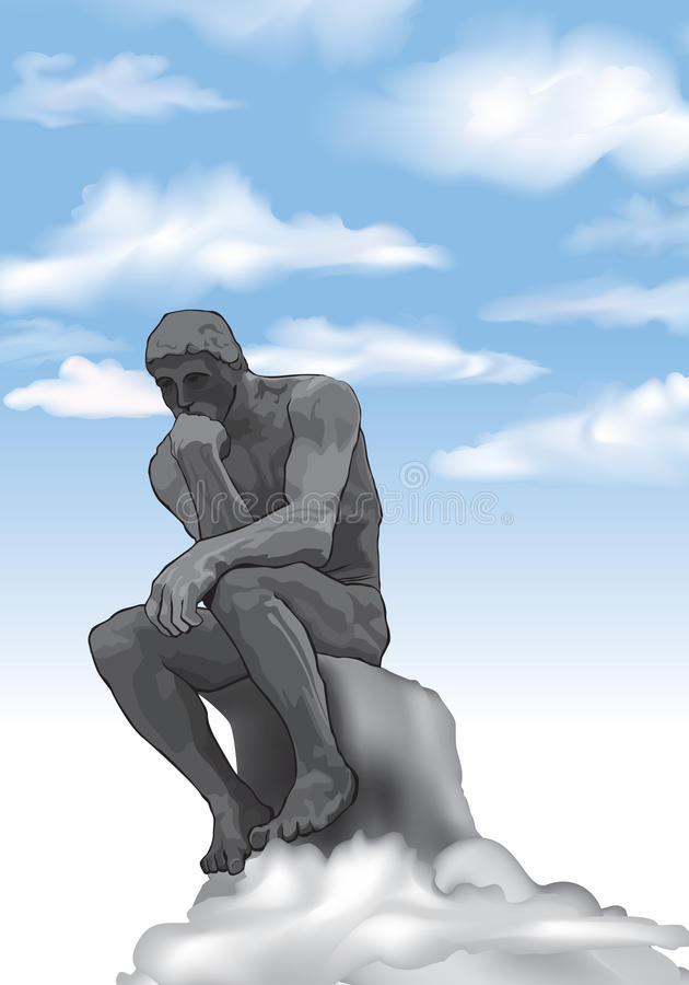 Free The Thinker Man Statue Royalty Free Stock Photo - 34686275