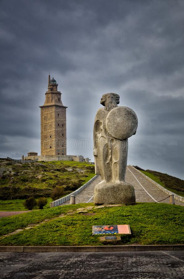 Free The Tower Of Hercules, Is An Ancient Roman Lighthouse Near The City Of A Coruña, In The North Of Spain Royalty Free Stock Photography - 120922237