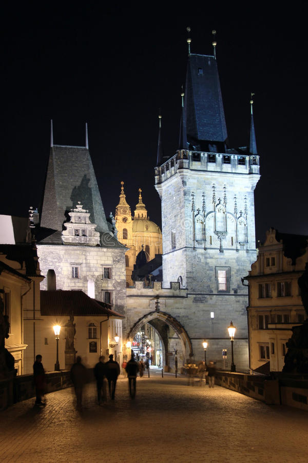 Free The Tower On The Charles Bridge In Prague In The N Royalty Free Stock Photos - 12160868