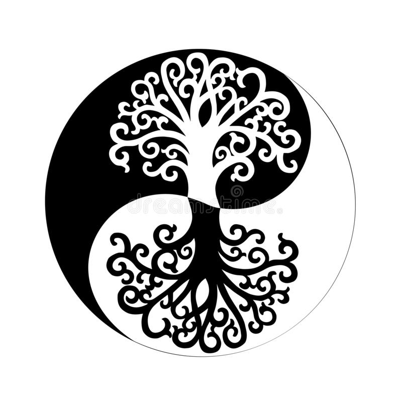 Free The Tree Of Life And Yin Yang Spiritual Symbol Stock Photography - 213015452