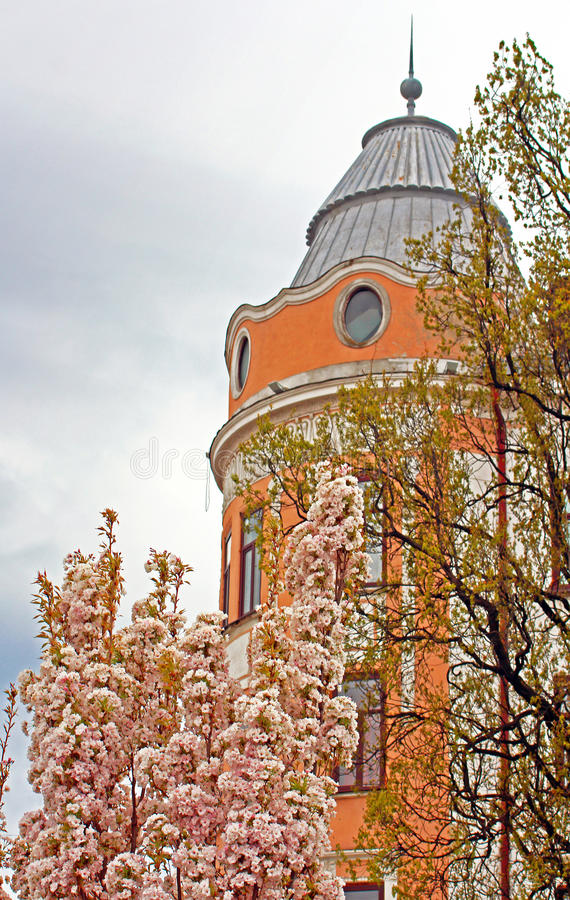 Free The View Of Part Of The Former Hotel Bristol With Blooming Tree, Chernivtsi, Ukraine Royalty Free Stock Image - 93696896
