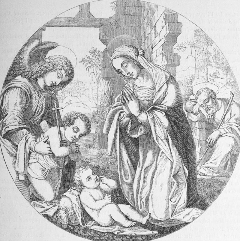 Free The Virgin Adores The Baby Jesus By Lorenzo Di Credi, An Italian Renaissance Painter And Sculptor In The Old Book Histoire Des Royalty Free Stock Photo - 180237495