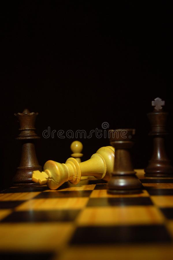 Free The White King Loses To A Check Mate In A Game Of Chess On A Wood Board. Royalty Free Stock Photo - 107862545