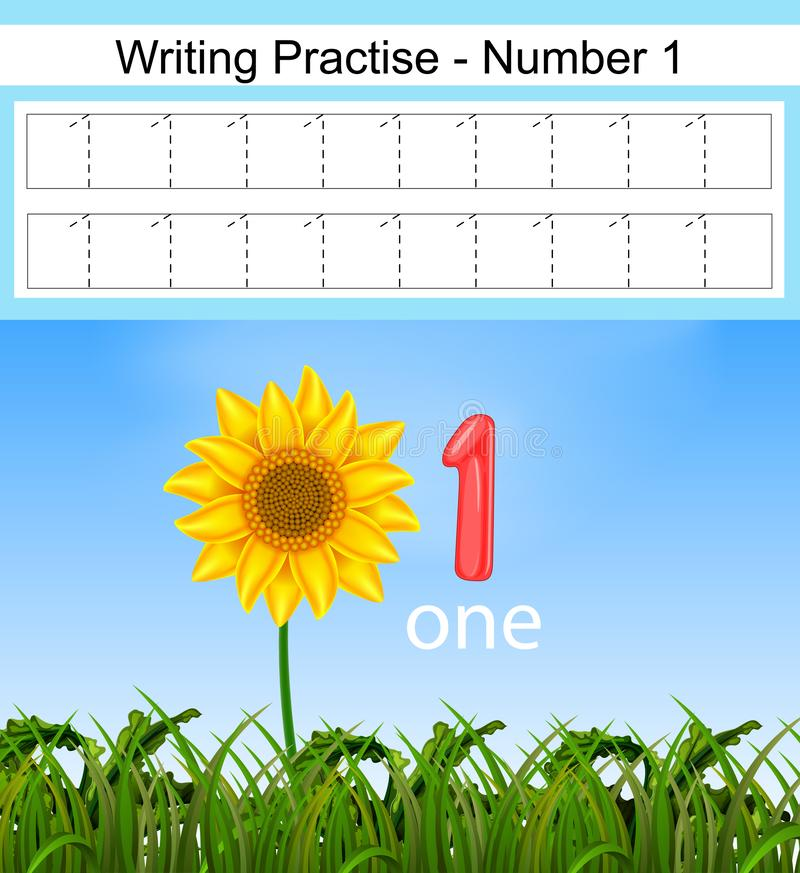 Free The Writing Practices Number 1 With The Big Sunflower Stock Photo - 137374030