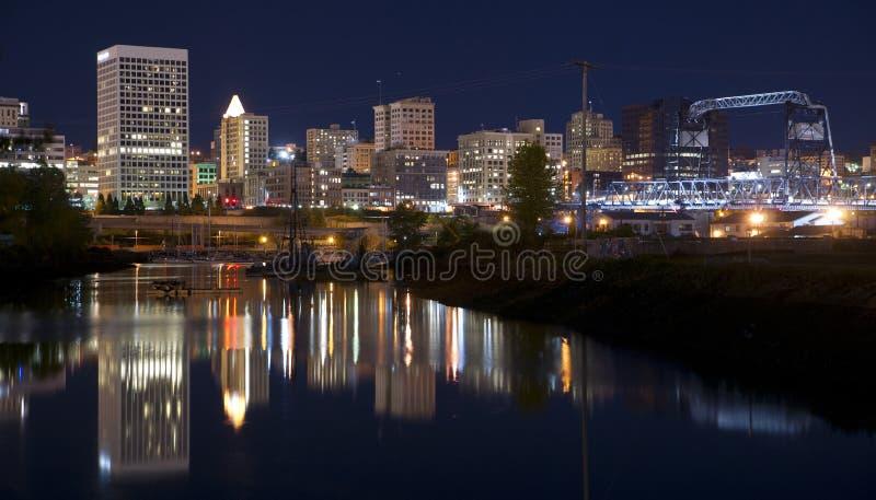 Thea Foss Waterway und Marina Fronts Tacoma Washington Northwest lizenzfreie stockfotografie