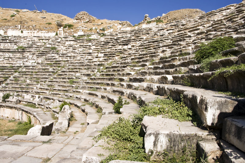 Theater. Ancient Greek theater in turkey royalty free stock photos