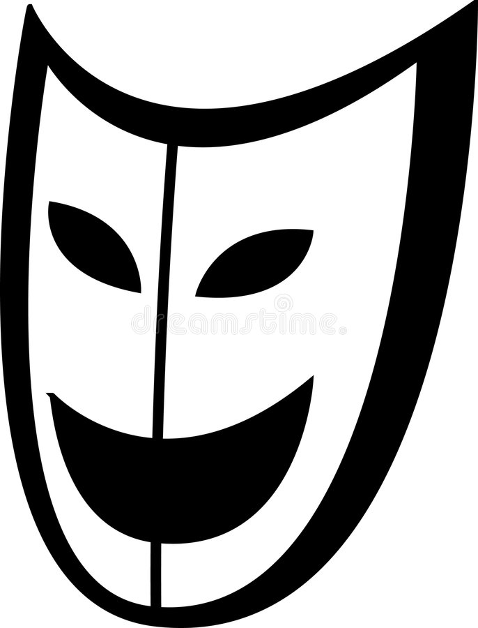 Theater or acting smiling mask vector illustration. Vector illustration of a theater or acting smiling mask royalty free illustration