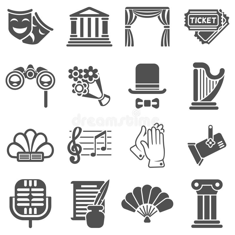 Theater acting vector black icons royalty free illustration