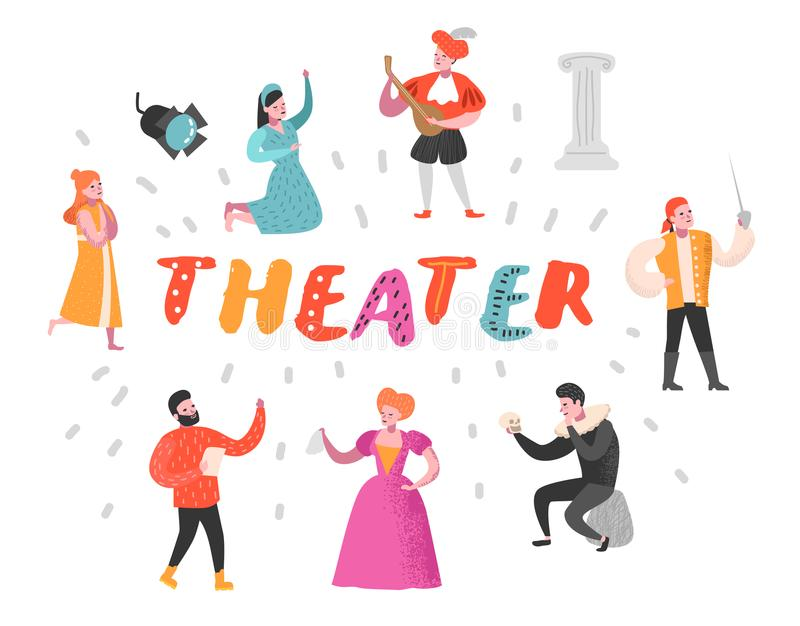 Theater Actor Characters Set. Flat People Theatrical Perfomances. Artistic Man and Woman on Stage. Vector illustration vector illustration