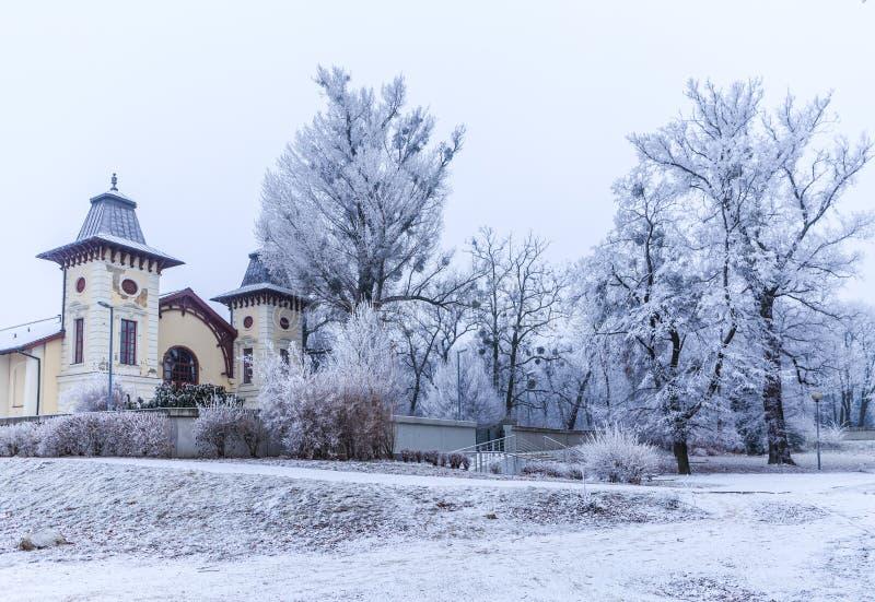 Theater-Arena nahe Park traurige Janka Krala, Winterstimmung, Bratislava lizenzfreies stockbild
