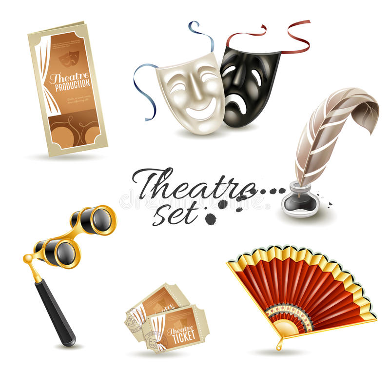 Theater attributes flat pictograms set. Theater production program with retro tickets and two face masks flat pictograms set abstract vector illustration royalty free illustration