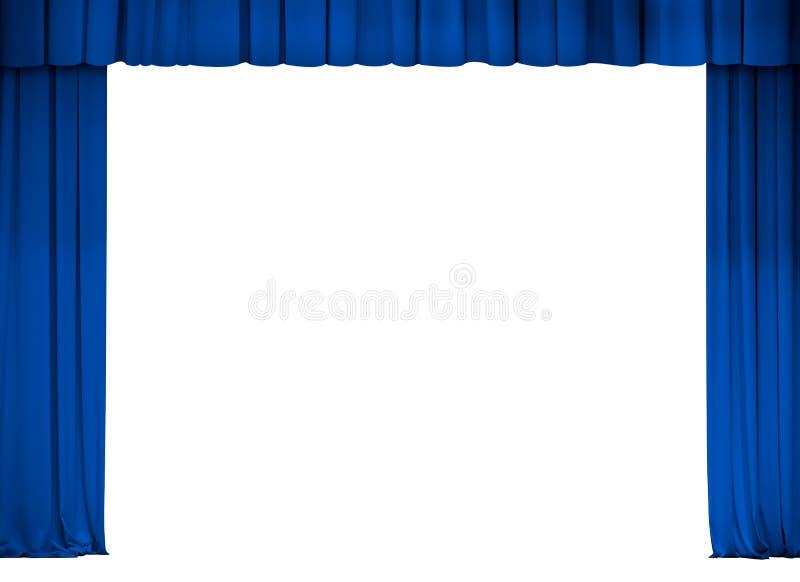 Theater of bioskoop blauw geïsoleerd gordijnkader stock foto's