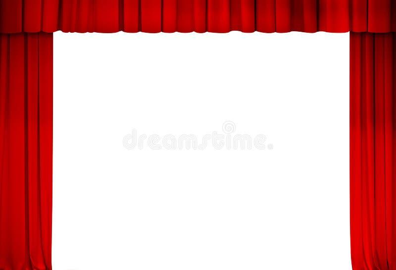 Theater of bioskoop rood gordijnkader stock foto's