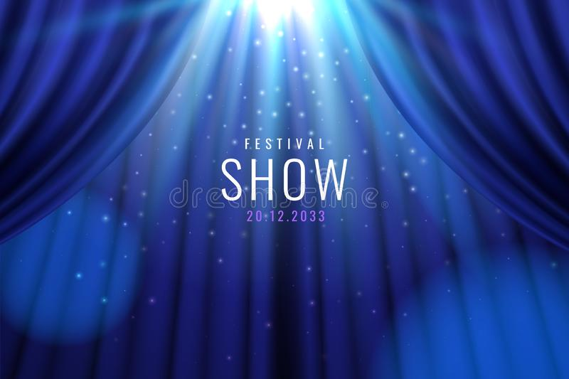 Theater blue curtain with lights as show banner. Theater blue curtain with lights as show, presentation banner. Sign for casino or bar, movie or cinema premier stock illustration