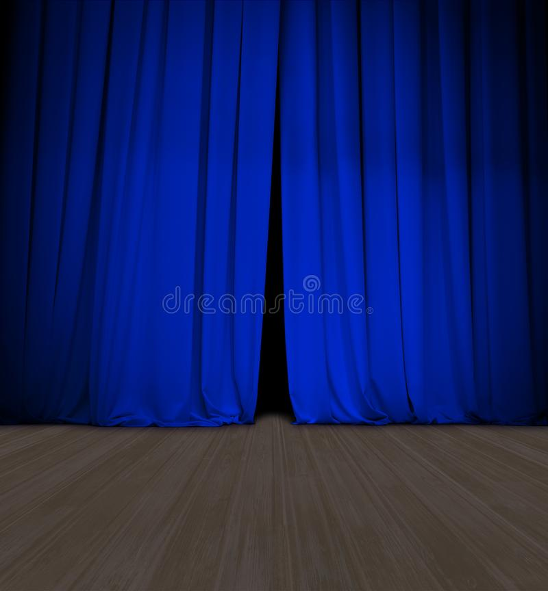 Theater blue curtain slightly open and wood stage or scene stock photography