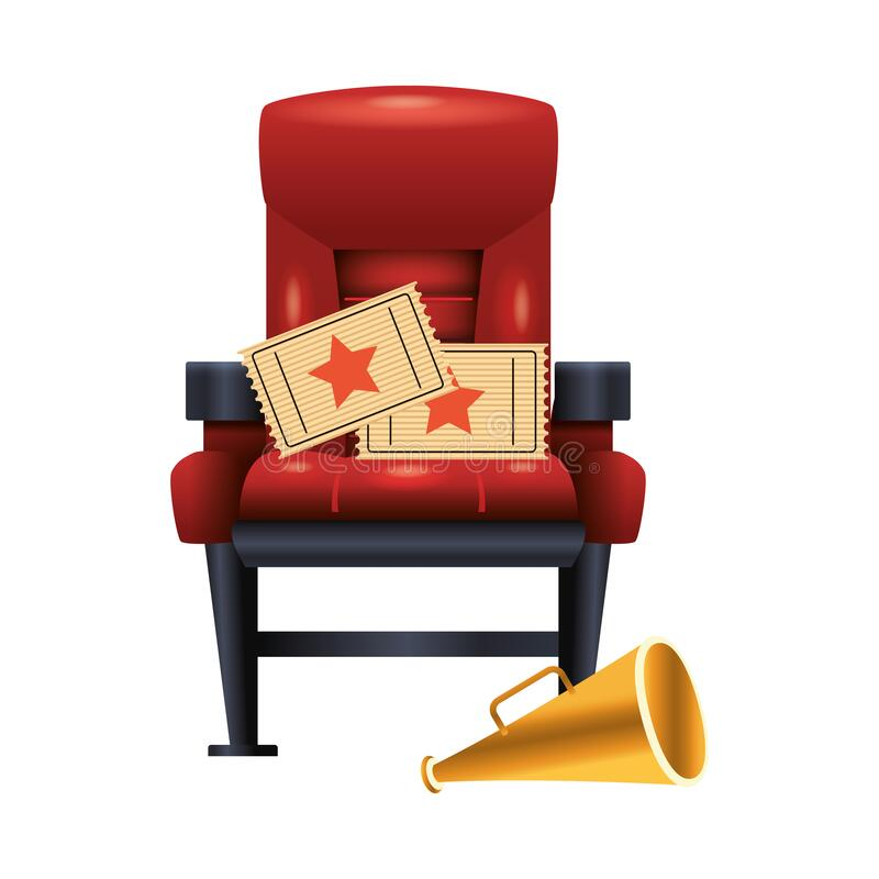 Theater chair with movie tickets and megaphone stock illustration