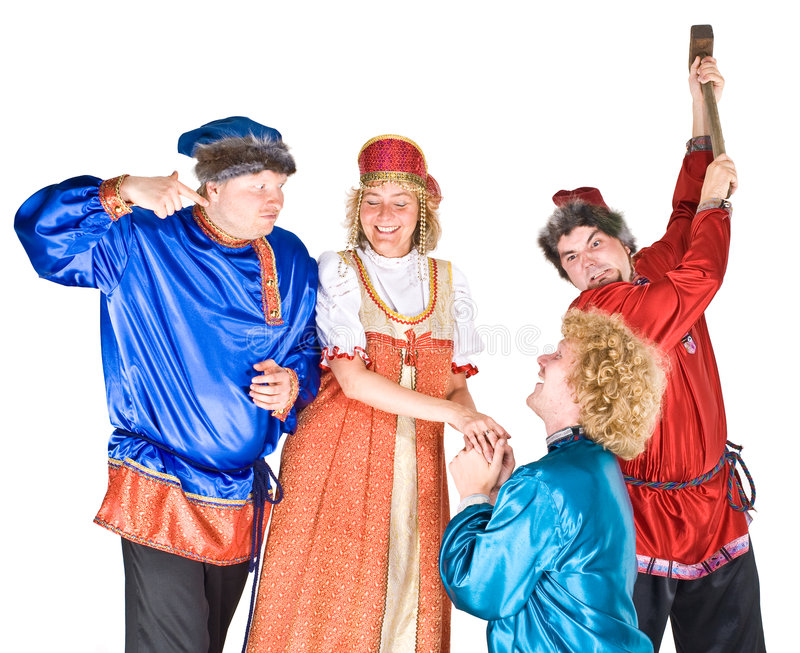 Theater characters - suitors royalty free stock photo