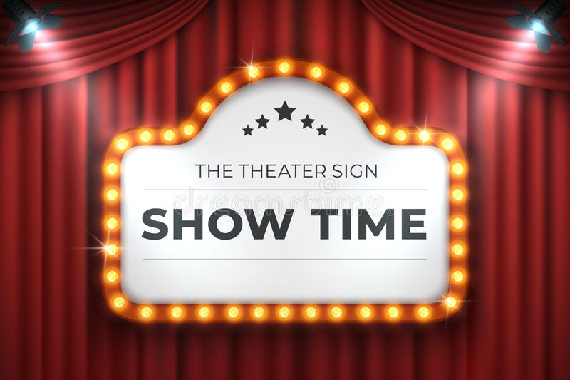 Theater cinema sign. Movie light frame, retro marquee banner on red background. Vector light bulb realistic billboard vector illustration