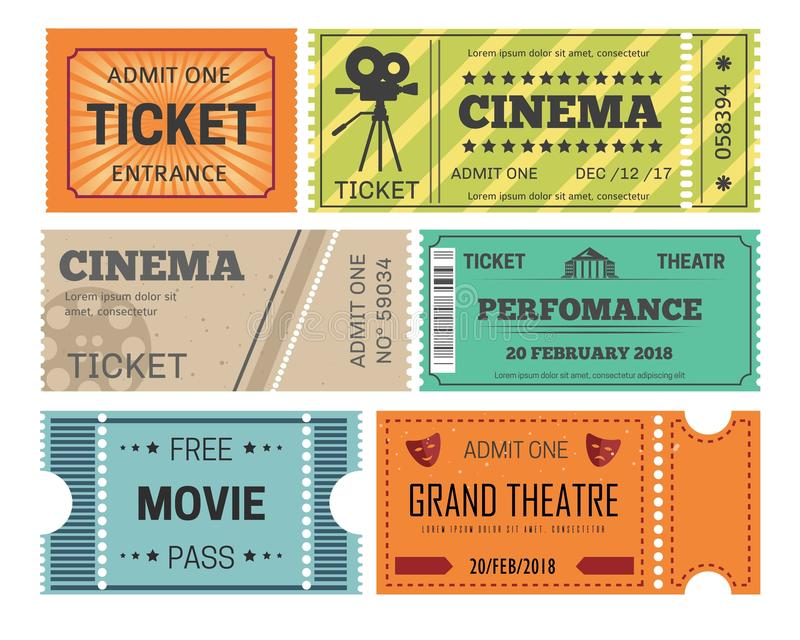 Theater and cinema tickets admission or paper pass isolated objects vector illustration