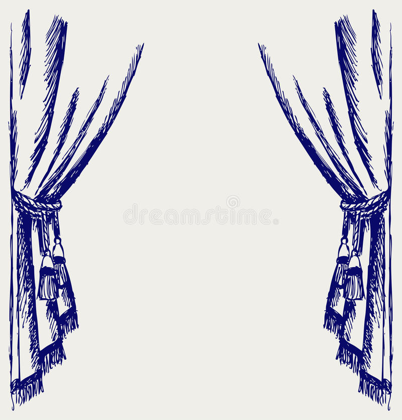 Theater curtain. Doodle style. Vector stock illustration