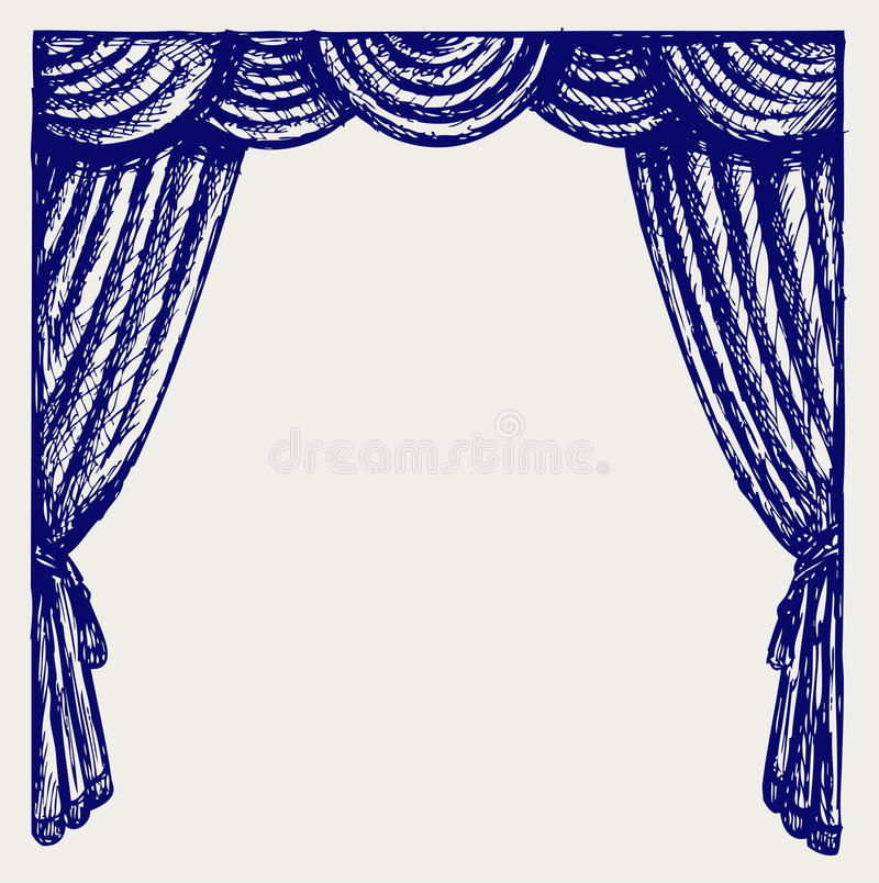 Theater curtain. Doodle style. Vector royalty free illustration