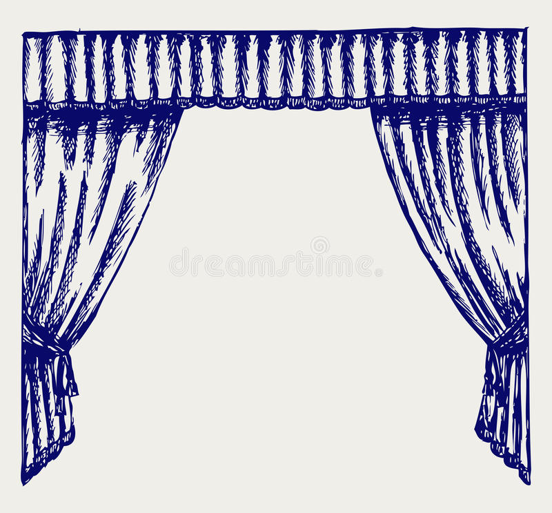Theater curtain. Doodle style. Vector vector illustration