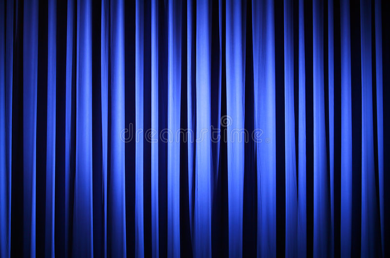 Theater Curtain. Spotlight on A Blue Theater Curtain Before Show Begins stock illustration
