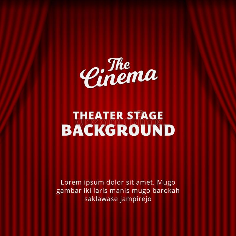 Theater curtain background vector illustration. red velvet realistic curtain for cinema, drama, circus, magical show poster royalty free illustration