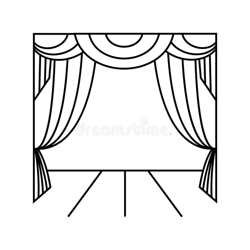 Theater curtain. Illustration vector icon. On white background vector illustration