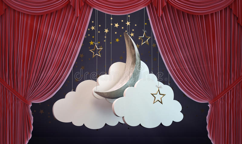 Theater curtain with moon. A moon and clouds stage set behind an opening Theater curtain stock illustration