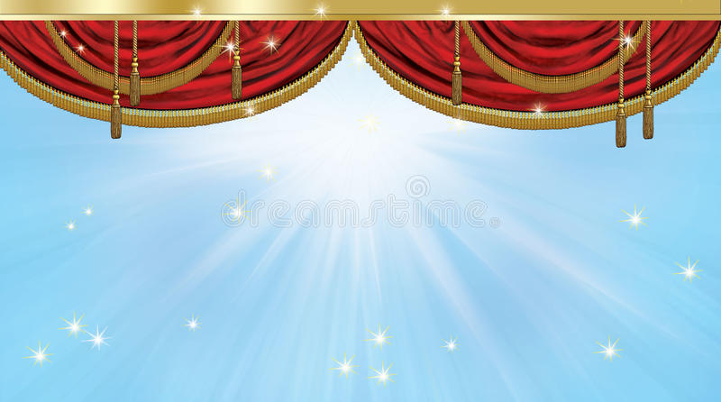 Theater curtain. Red luxury theater curtain on blue background with light effect and stars. Vintage style. Royal magnificent curtain. Digital illustration, image stock illustration