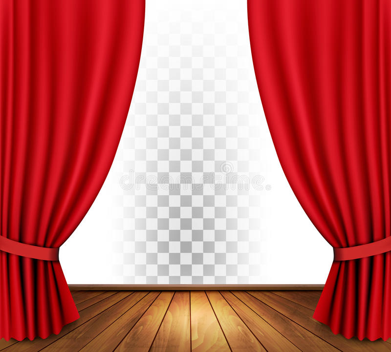Theater Lights Background: Theater Curtains With A Transparent Background. Stock