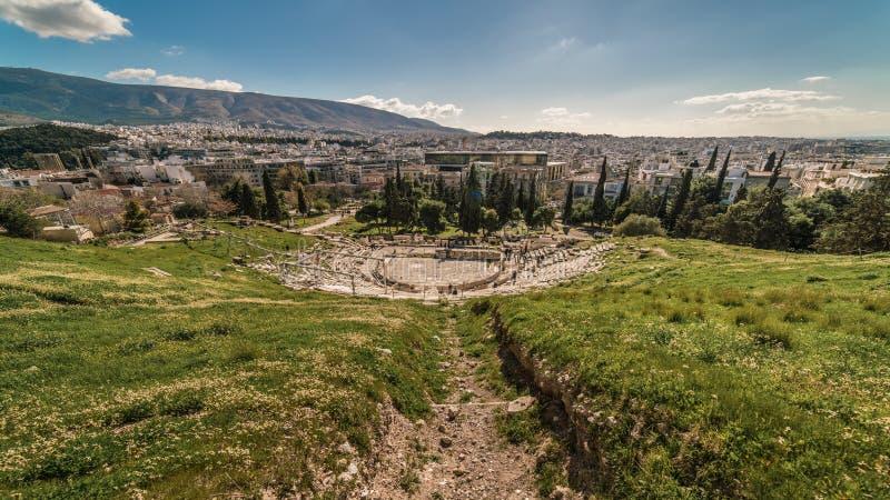 Theater of Dionysus, near Acropolis Parthenon, Athens of Greece stock photography