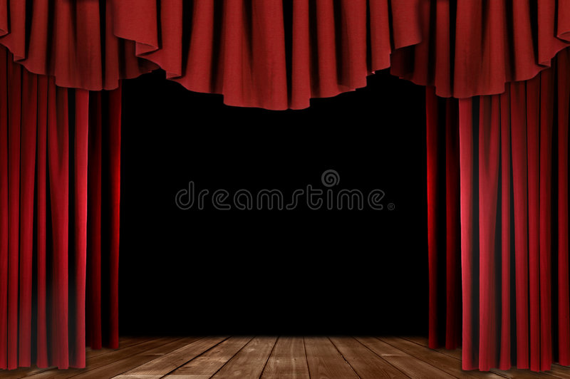 Theater Drapes With Wood Floor. Red Stage Theater Drapes With Wood Floor