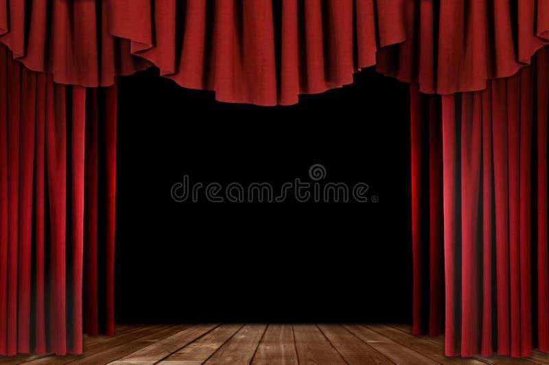 Theater drapiert mit hölzernem Fußboden