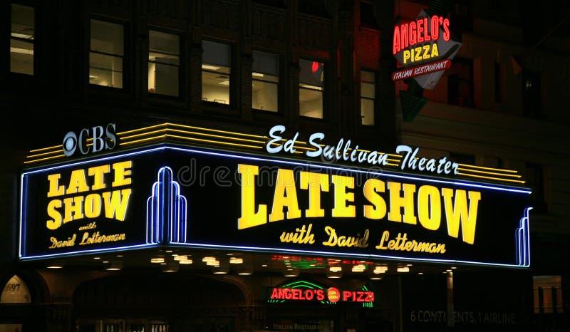 Theater Ed-Sullivan nachts lizenzfreie stockfotos
