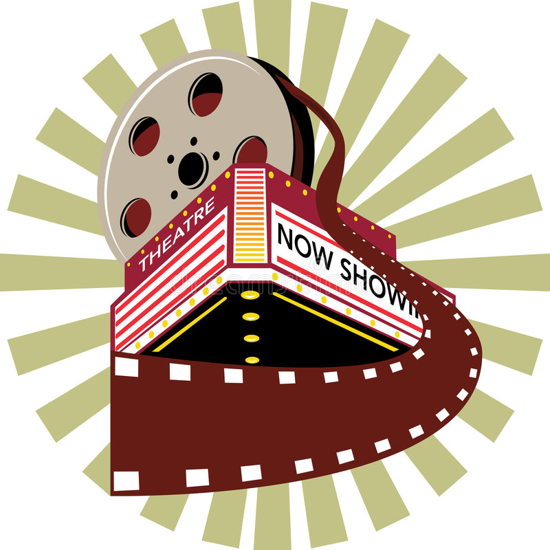 Theater with film reel. Vector illustration on popular icons of the theater arts stock illustration