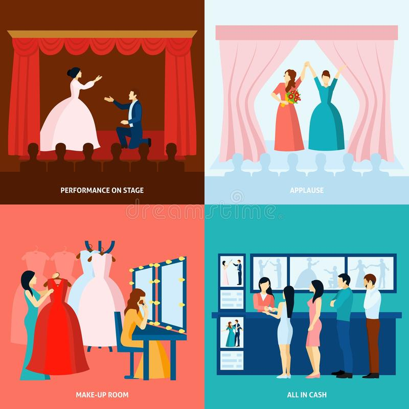Theater 4 flat icons square banner. Theater performance approving applause and tickets at the door 4 flat icons square banner abstract vector illustration vector illustration