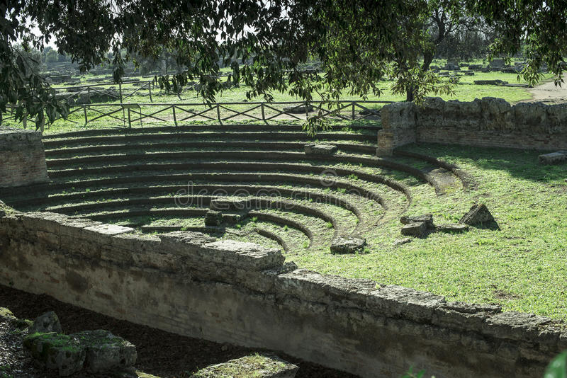 Theater greek Paestum Italy royalty free stock photography
