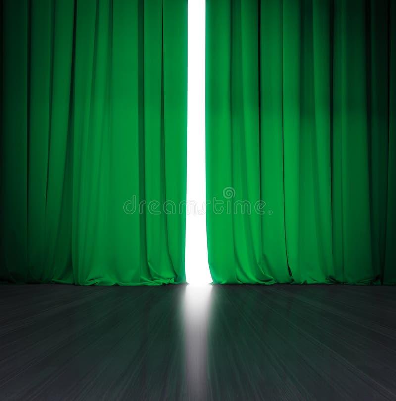 Theater groen gordijn lichtjes open met helder licht erachter en houten stadium of scène stock foto's